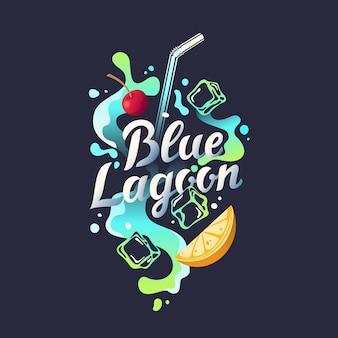 Nowoczesne ręcznie rysowane napis etykiety na koktajl alkoholowy blue lagoon. odręczne napisy dotyczące układu i szablonu. ilustracja tekstu.