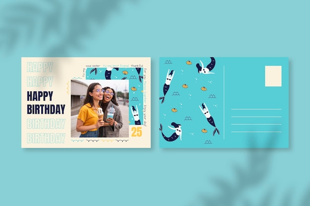 Nowoczesne ręcznie rysowane pocztówki urodzinowe syreny