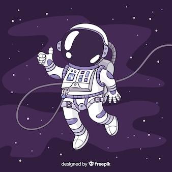 Nowoczesne ręcznie rysowane postaci astronautów