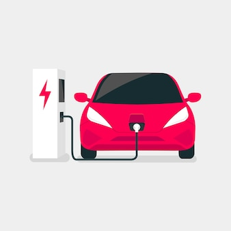 Nowoczesne samochody elektryczne ładują się na stacji ładowania pojazdów elektrycznych.