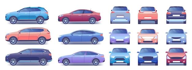 Nowoczesne samochody miejskie zestaw ilustracji