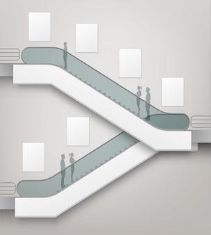 Nowoczesne schody ruchome z miejscem na reklamę widok z boku na białym tle na tle wnętrza centrum handlowego centrum handlowe business building