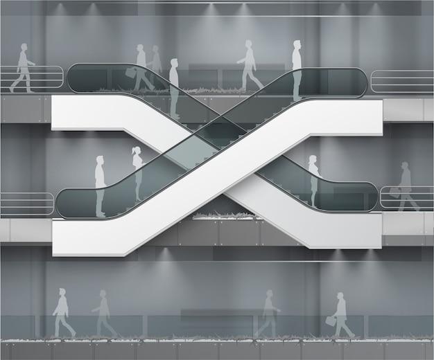 Nowoczesne schody ruchome z miejscem na reklamę widok z boku na tle wnętrza centrum handlowego centrum handlowe business building