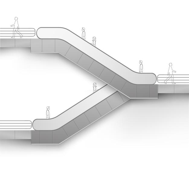 Nowoczesne schody ruchome z miejscem na stronę reklamową na białym tle
