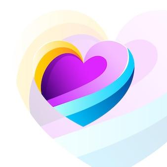 Nowoczesne serce kolorowy wzór wektor