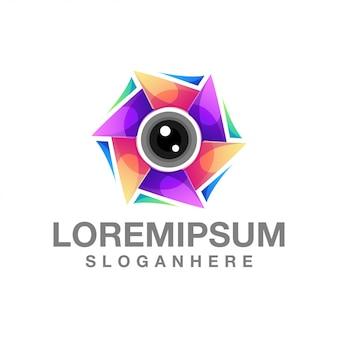 Nowoczesne soczewki kolorowe logo streszczenie