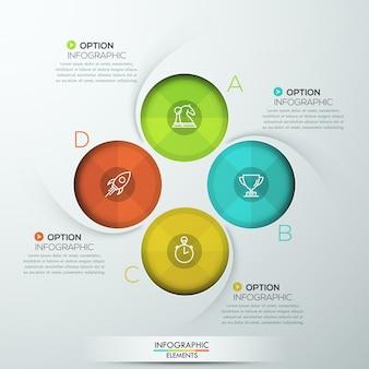 Nowoczesne spiralne infografiki z czterema opcjami