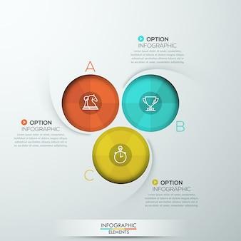 Nowoczesne spiralne infografiki z trzema opcjami