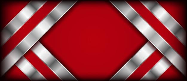 Nowoczesne streszczenie czerwonym tle ze srebrnymi warstwami pokrywają się