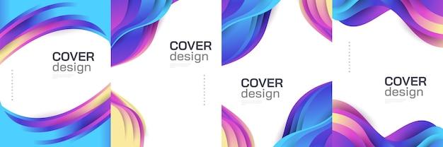 Nowoczesne streszczenie szablon projektu okładki z kolorowymi kształtami płynów i cieczy. płynny projekt tła dla strony głównej, broszury, banera, okładki, broszury, druku, ulotki, książki, karty lub reklamy