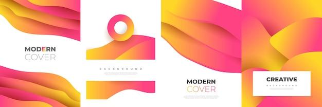 Nowoczesne streszczenie szablon projektu okładki z kolorowymi kształtami płynów i cieczy. płynny projekt tła dla strony tytułowej, motywu, broszury, banera, okładki, broszury, druku, ulotki, książki, karty lub reklamy