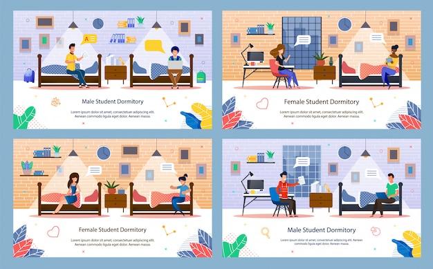 Nowoczesne student dormitorium płaskie wektor zestaw banerów
