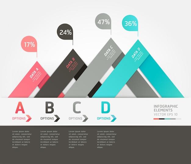 Nowoczesne style strzałek origami zwiększają możliwości. układ przepływu pracy, schemat, opcje liczbowe, projektowanie stron internetowych, infografiki.