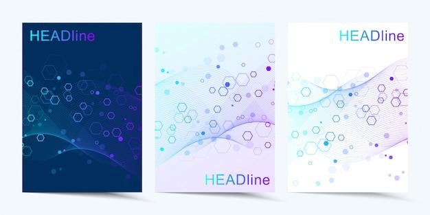 Nowoczesne szablony broszur, okładek technologia cyfrowa, nauka lub koncepcja medyczna
