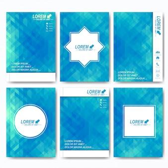 Nowoczesne szablony broszur, ulotek, okładek lub raportów w formacie a4. projektowanie biznesowe, naukowe, medyczne i technologiczne. tło z niebieskimi trójkątami
