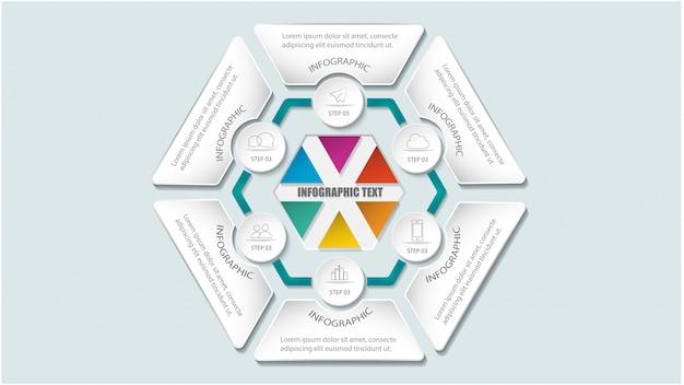 Nowoczesne sześciokątne opcje szablonu infografiki dotyczące układu przepływu pracy, schematu, opcji liczb, opcji podwyższania,