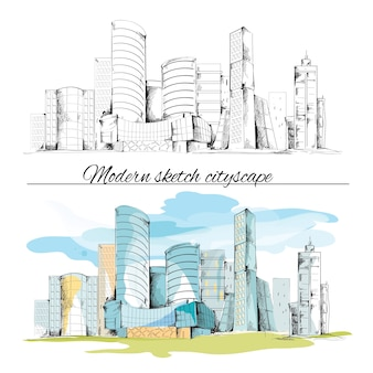 Nowoczesne szkic miejskich budynku ręcznie rysowane cityscape zestaw ilustracji wektorowych