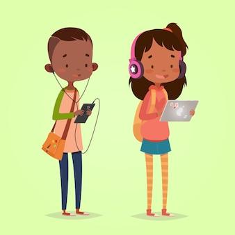Nowoczesne technologie dla dzieci. dziewczyna z tabletem i słuchawkami. chłopiec z inteligentny telefon i słuchawki.