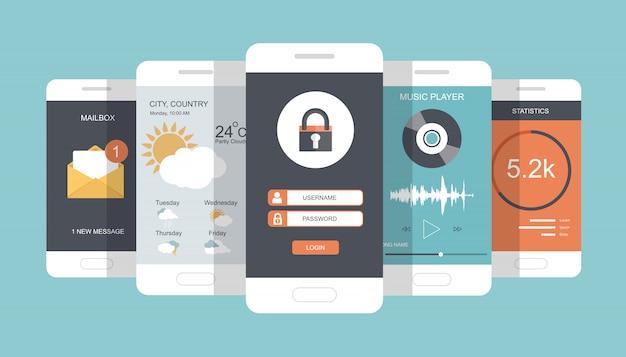 Nowoczesne telefony komórkowe z różnymi elementami interfejsu użytkownika