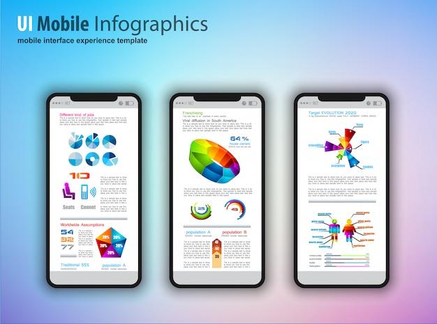 Nowoczesne telefony z ekranem dotykowym z elementami projektowania technologii infografiki