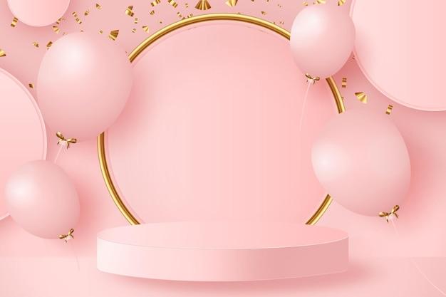 Nowoczesne tło 3d podium z realistycznymi różowymi balonami i złotą ramką