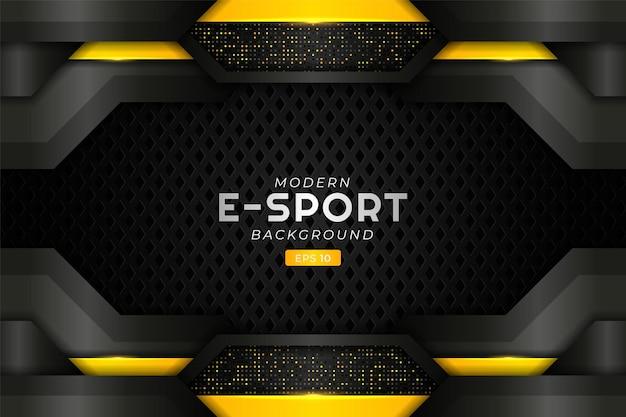 Nowoczesne tło do gier e-sportowych realistyczna świecąca na żółto futurystyczna technologia premium