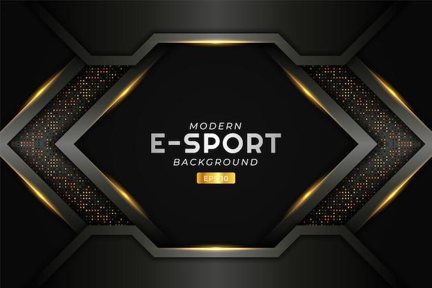 Nowoczesne tło do gier e-sportowych świecąca strzałka pomarańczowa futurystyczna technologia premium stream z brokatem