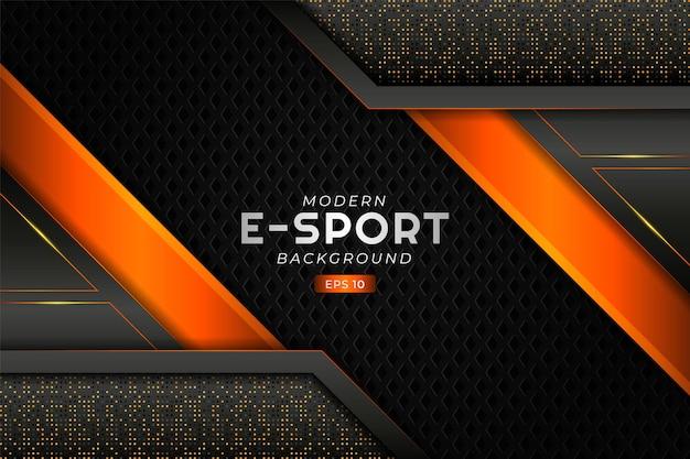 Nowoczesne tło do gier e-sportowych świecąca ukośna warstwa pomarańczowa futurystyczna technologia premium