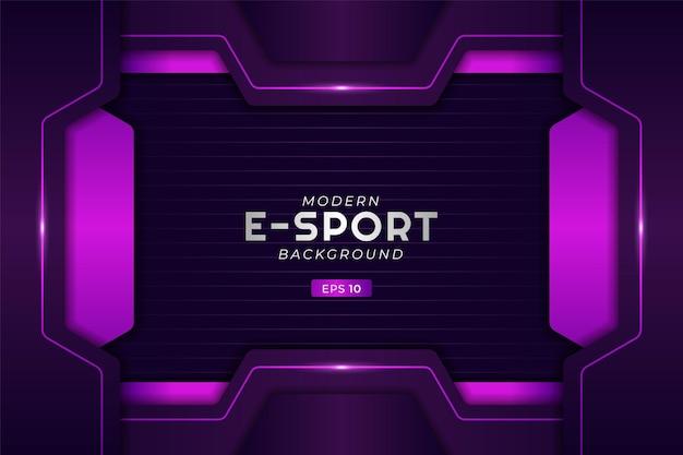 Nowoczesne tło do gier e-sportowych świecące fioletową futurystyczną technologią