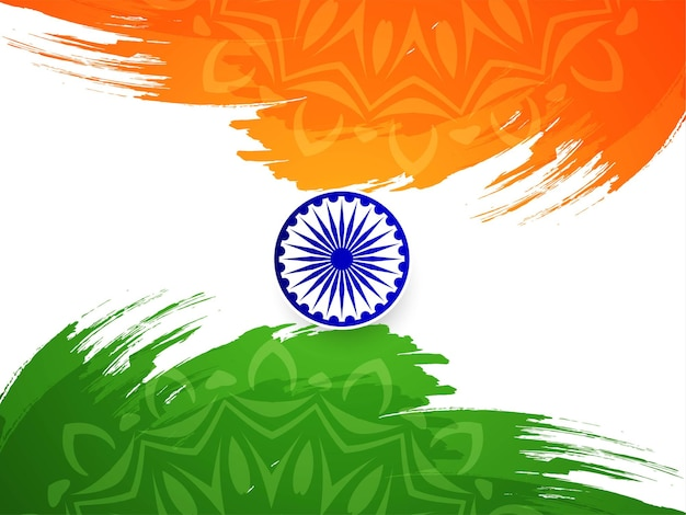 Nowoczesne tło obrysu pędzla flagi indii