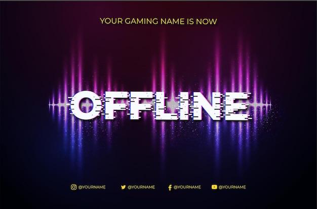 Nowoczesne tło offline twitch banner z degradacją abstrakcyjnej fali dźwiękowej