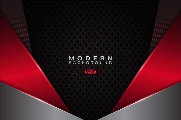 Nowoczesne tło premium diagonal nakładające się z eleganckim metalicznym świecącym czerwonym i srebrnym