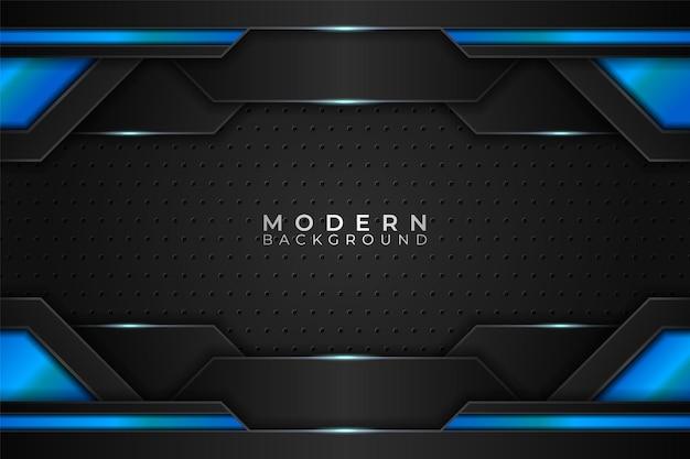 Nowoczesne tło realistyczna technologia futurystyczny niebieski z ciemnym wzorem sześciokątnym