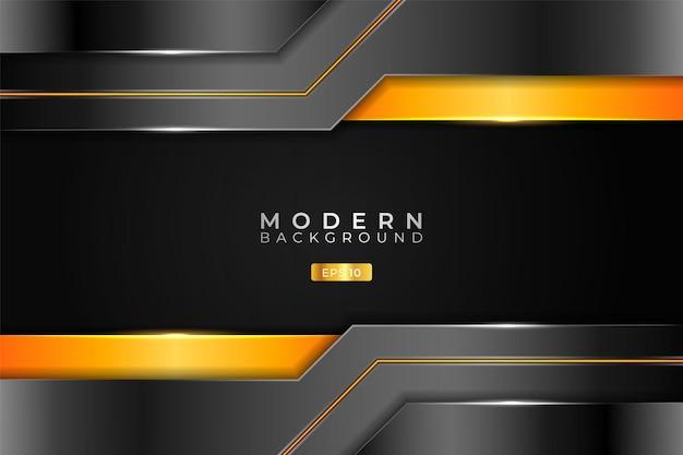 Nowoczesne tło realistyczne 3d elegancka metaliczna technologia błyszczący pomarańczowy i srebrny
