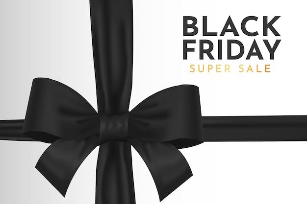Nowoczesne tło sprzedaży super czarny piątek z realistyczną czarną wstążką