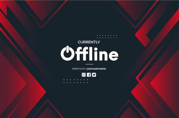 Nowoczesne tło transparent twitch offline z abstrakcyjnymi czerwonymi kształtami