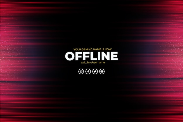 Nowoczesne tło twitch z abstrakcyjnymi czerwonymi liniami offline