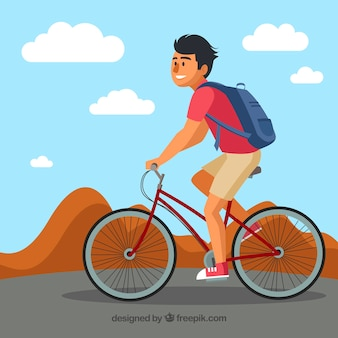 Nowoczesne tło z rowerem uśmiechniętych ludzi