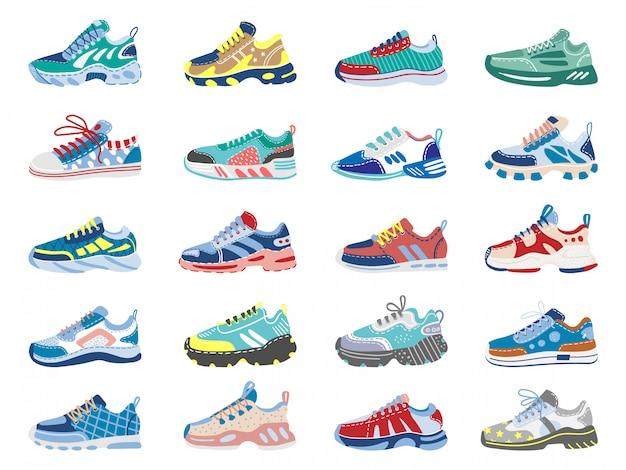 Nowoczesne trampki. bieganie, obuwie treningowe, trampki sportowe fitness, zestaw ikon ilustracji nowoczesnych butów sportowych. sneaker fitness, aktywny trening odzieży