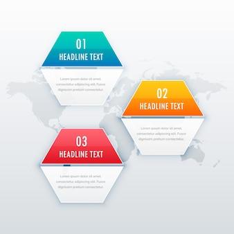 Nowoczesne trzy kroki projekt grafiki infograficznej do prezentacji internetowej lub układu diagramu przepływu pracy