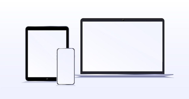 Nowoczesne urządzenia z pustymi ekranami makieta smartfona i tabletu laptopa z izolowanym pustym ekranem