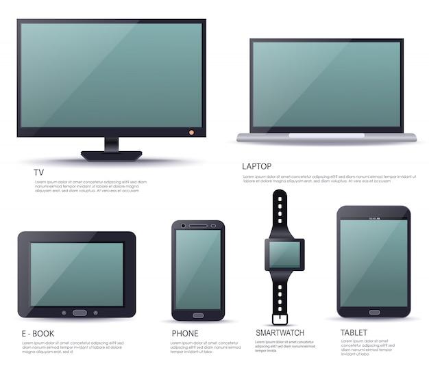 Nowoczesne urządzenie elektroniczne z pustym ekranem
