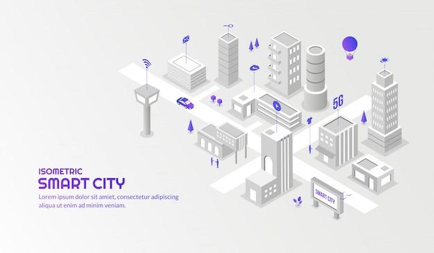 Nowoczesne usługi technologiczne z połączonym inteligentnym tłem miasta izometrycznego