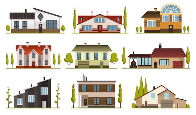 Nowoczesne wiejskie domy do rezerwacji i zamieszkania. mieści zewnętrznego ilustracyjnego frontowego widok z dachem. fasada domu z drzwiami i oknami. nowoczesny dom w kamienicy. budynek nieruchomości