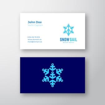 Nowoczesne wizytówki szablon z żaglem śnieżnym zimą