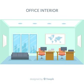 Nowoczesne wnętrze biura z płaskiej konstrukcji