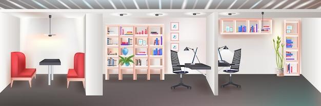 Nowoczesne wnętrze biura coworkingowego puste bez ludzi otwarta przestrzeń szafy z meblami