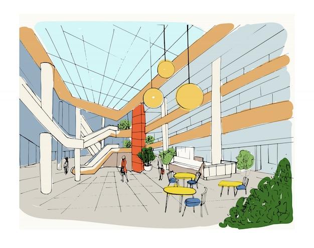 Nowoczesne wnętrze centrum handlowe, centrum handlowe. ilustracja kolorowy szkic