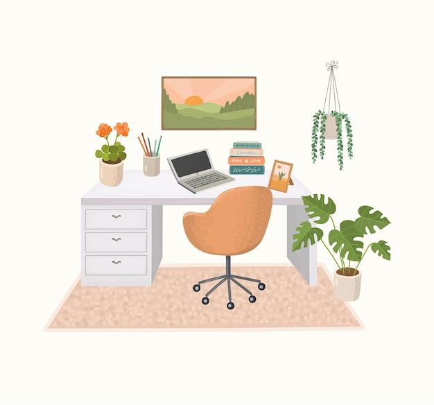 Nowoczesne wnętrze domu z biurkiem i roślinami domowymi