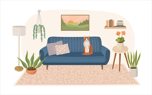 Nowoczesne wnętrze domu z sofą i siedzącym kotem